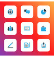 trade icons colored set with talk world contract vector image