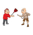two men with plunger and a hose vector image vector image