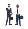 two smiling men businessmen or office workers vector image