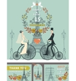 Wedding invitationBridegroomretro bikeEiffel vector image