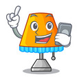with phone character table office lamp in indoor vector image