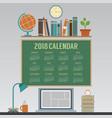 2018 laptop workspace no person calendar vector image vector image