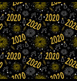 2020 new years eve firework celebration seamless vector image vector image