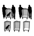 animal control officers with dog in cage or empty vector image
