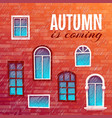 background of autumn with building wall vector image