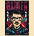 barbershop vintage poster vector image vector image