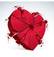 breakup concept of broken heart 3d realistic of vector image
