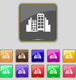Buildings icon sign Set with eleven colored vector image vector image