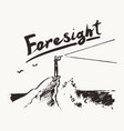 businessman cliff sea forecast foresight a vector image vector image