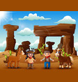 cartoon young indian girl and cowboy with animal i vector image vector image