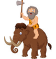 caveman riding a mammoth vector image vector image