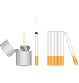 Cigarette and lighter vector image vector image