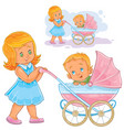clip art older sister wheeled vector image vector image