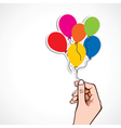 colorful balloon in hand vector image vector image