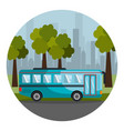 colorful circular frame with landscape with bus on vector image