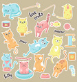 cute cats stickers hand drawn vector image