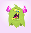 cute small scared cartoon monster vector image vector image