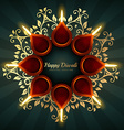 diwali greeting background design with floral vector image vector image