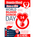 donate blood save life banner of world donor day vector image vector image