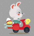easter bunny drive motorcycle decorated eggs vector image