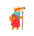 fox travelling with backpack and staff cute vector image vector image