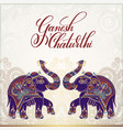 ganesh chaturthi greeting card design with two vector image vector image