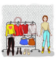 girl with a set of clothes summer vector image