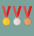 gold silver and bronze award medals vector image vector image
