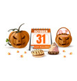 halloween design with jack o lantern and sweets vector image