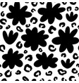 hand drawn ink flowers shapes and leopard pattern vector image vector image