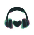 headphones with heart colorful icon vector image vector image