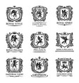 heraldic animals medieval heraldry shields vector image vector image
