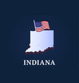 indiana state isometric map and usa natioanl flag vector image vector image