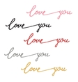 inscription calligraphy love you vector image vector image