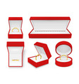 jewelry in red boxes realistic set