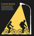 lamppost lights on family riding bicycles vector image vector image