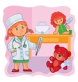 Little girl doctor treats their toys vector image