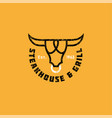 logo bull vintage meat restaurant or butchery icon vector image