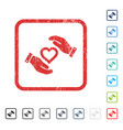 Love heart care hands icon rubber watermark