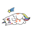 magic cat icon cute fairy rainbow symbol vector image