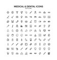 medical and dental outline icon set vector image