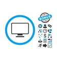 Monitor Flat Icon with Bonus vector image vector image