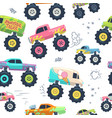 monster cars seamless pattern kid trucks with big vector image vector image