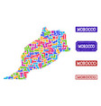 mosaic map of morocco and scratched stamps collage vector image