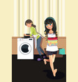 mother daughter doing laundry vector image vector image