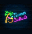 neon summer cocktail bar sign on dark brick wall vector image vector image
