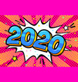 new year greating card blue numbers 2020 in word vector image