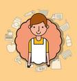portrait man cartoon wit apron supermarket vector image