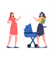 pregnant female character and mother with child on vector image
