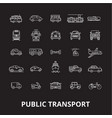 public transport editable line icons set on vector image vector image